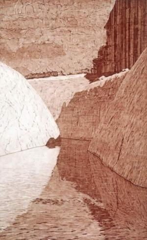 Lake Powell Canyon  24 x 15 inches, etching, 1982