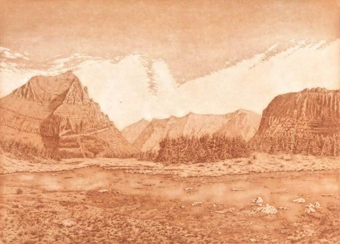 Logan Pass 15.5 x 22 inches, etching, 1981