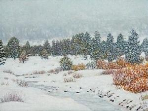 Big Snow, Hope Valley 3 x 4 inches,  oil on board, 2014