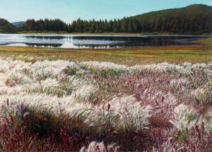 Indian Summer, Spooner Lake 36 x 50 inches,  oil on fabric, 2009