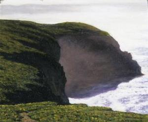 Misty Bluffs, Point Reyes 2.5 x 3 inches, oil on board, 2005