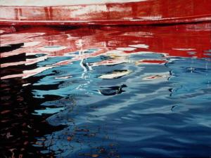 Red Barge 30 x 40 inches, acrylic, 1989
